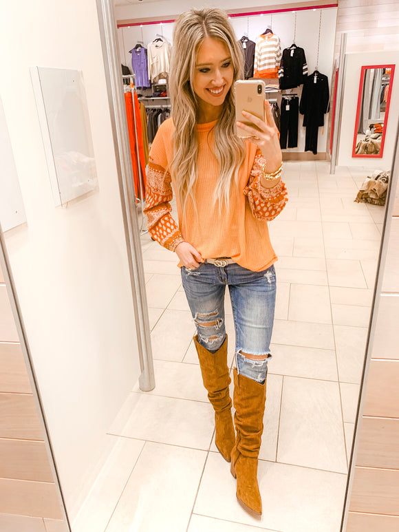 Orange Waffle Knit Contrast Top