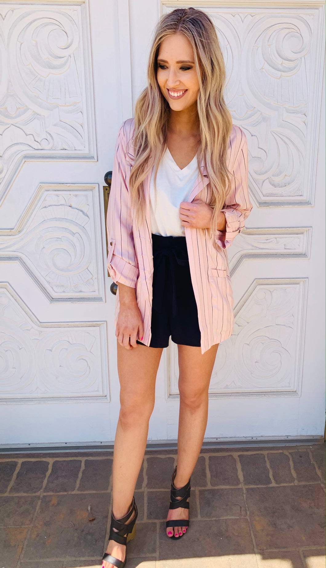 Stripe Boyfriend Blazer- 2 Colors