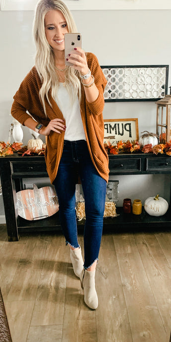 Long Knit Cardigan with Dolman Sleeve