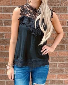Black Lace Solid Tank