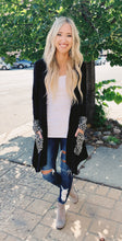 Black Animal Print Hoodie Cardigan