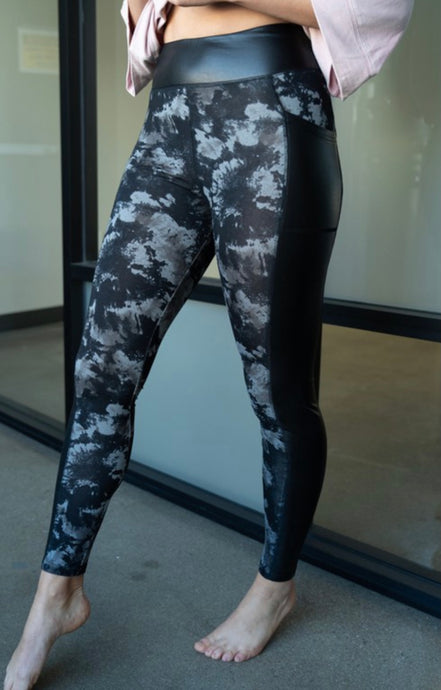 Black Tie Dye Leggings with Black Faux Leather