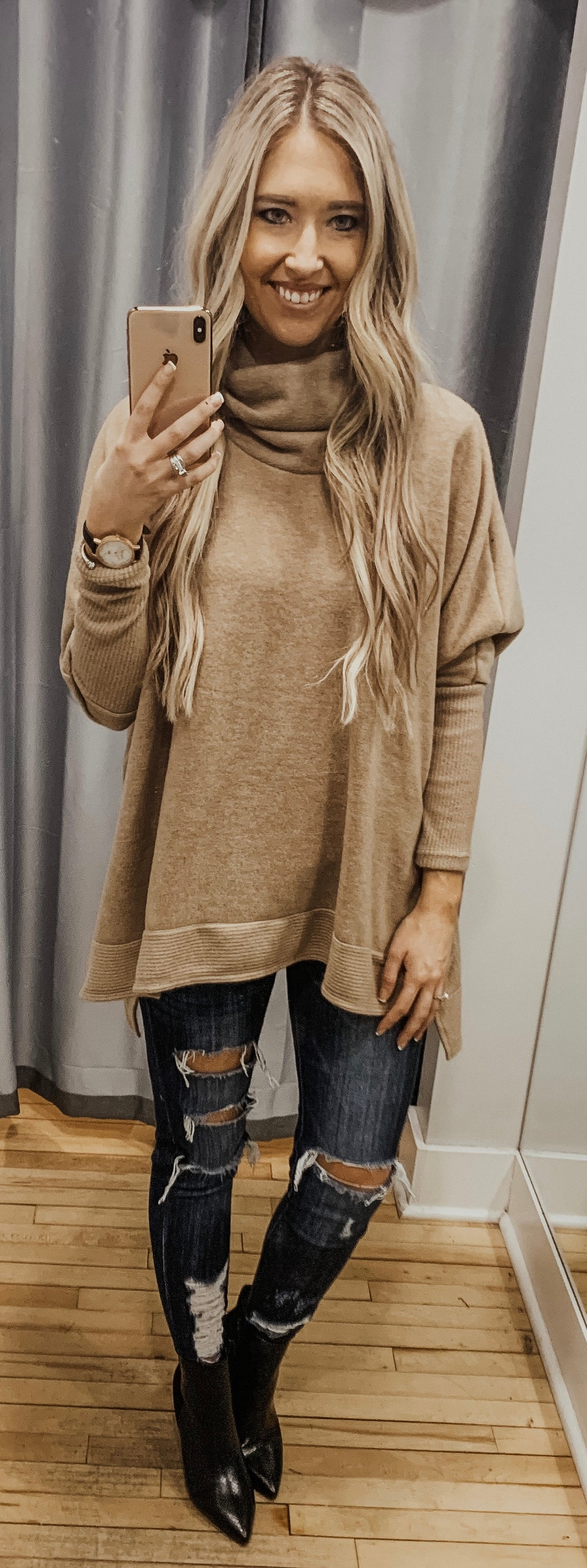 Oatmeal Cowl Turtle Neck Top