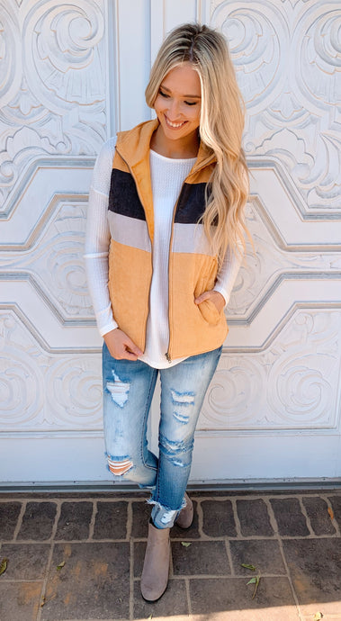 Mustard Color Block Corduroy Vest