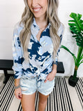 Camo Star Distressed Button Down- 2 colors