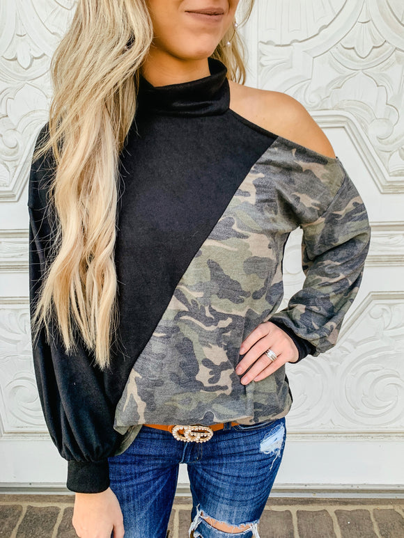 High Neck Top with Cutout Shoulder- 2 colors