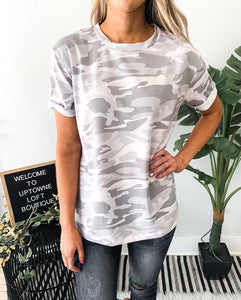 Grey Camo Knit Top