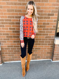 Plaid Leopard Long Sleeve Top