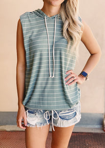 Striped Sleeveless Hoodie Top