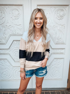 Khaki Color Block Knitted Sweater