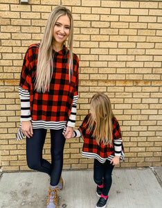 Kids Buffalo Plaid Stripe Poncho