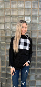 Black Buffalo Plaid Button Top