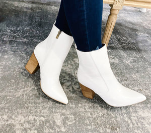Tory White Snake Bootie