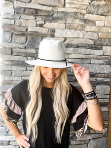 Straw Panama Hat with Tie- 2 Colors