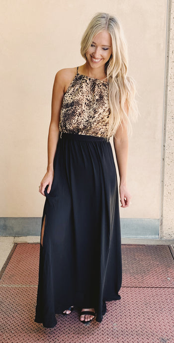 Leopard/Black Halter Neck Maxi Dress