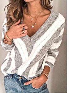 Grey/White Chevron Vneck Top