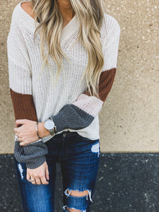 White V Neck Puff Sleeve Sweater
