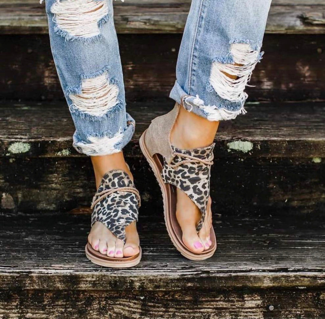Leopard Canvas Sandals