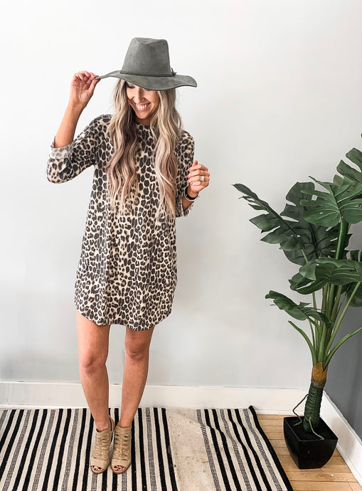Leopard Print Thermal Quarter Sleeve Dress