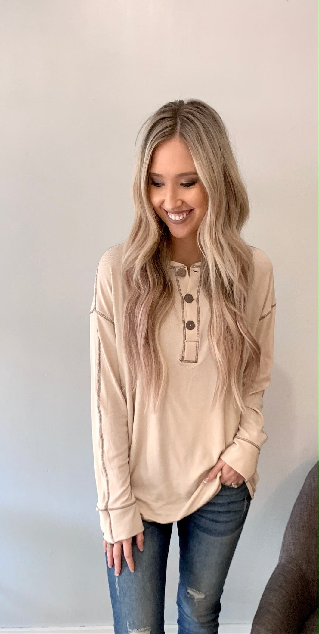 Oatmeal Front Button Long Sleeve