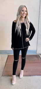 Black Suede Leggings With Zipper Detail