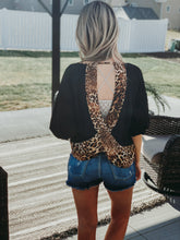 Black and Leopard Open Back Quarter Sleeve Top