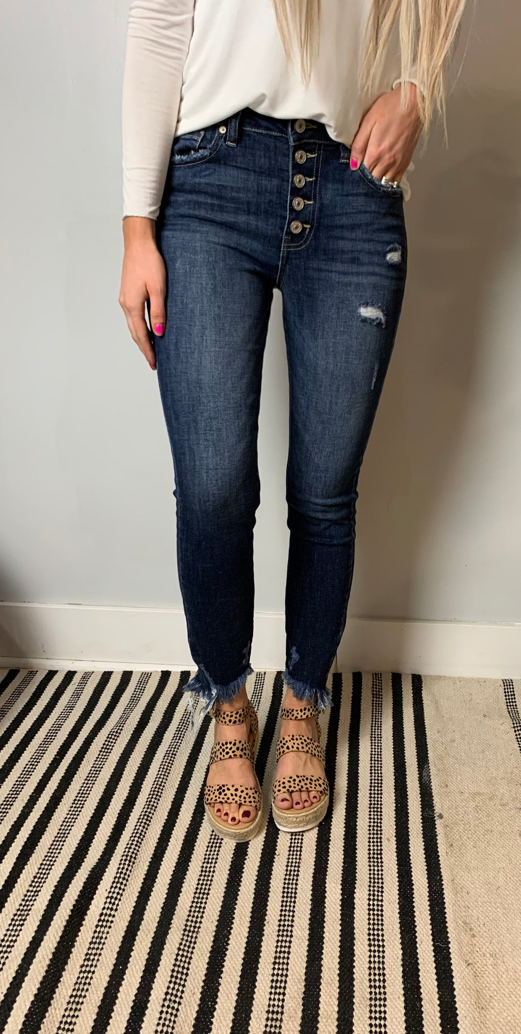 Dark Frayed Bottom KanCan Jeans