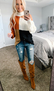 Cutout Shoulder Color Block Sweater