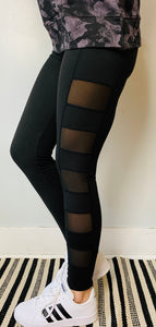 Black Side Mesh Panel Leggings