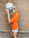 Orange Quarter Sleeve Top