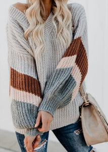 Grey V Neck Sweater Puff Sleeve