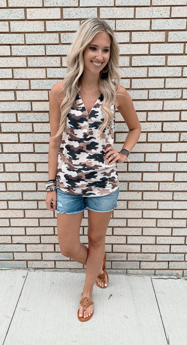 Camo Print Tank with Zipper