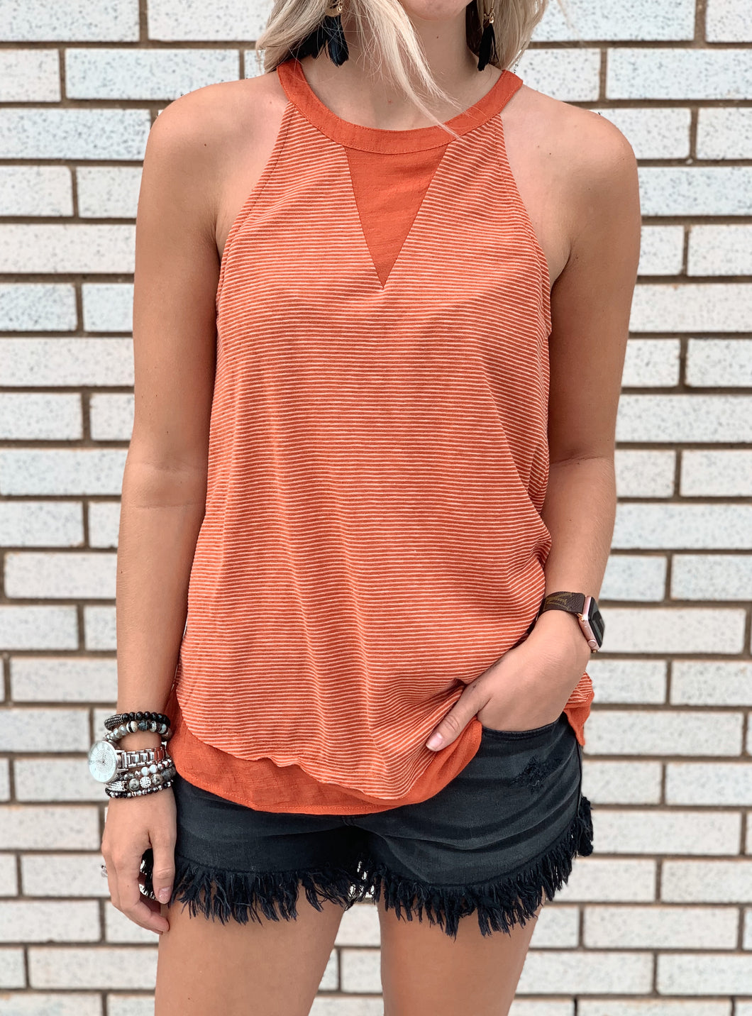 Burnt Orange Striped Halter Tank