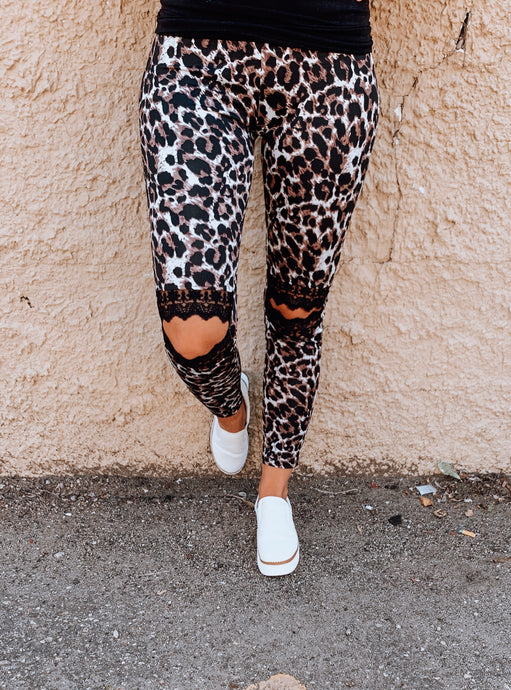 Leopard Open Lace Knee Leggings