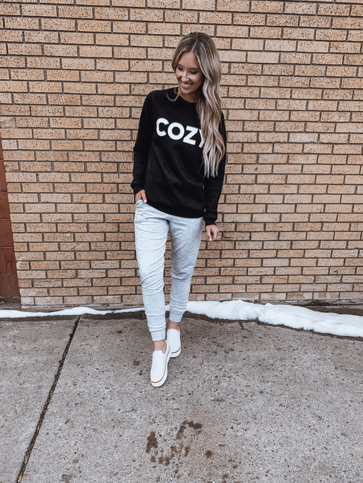 Cozy Graphic Sweatshirt- 2 colors