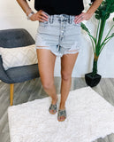 Washed Grey High Rise Distressed Shorts