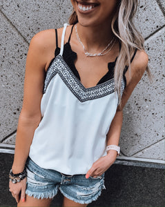 White Embroidered Cami Tank
