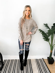 Taupe Knit Top with Button Sleeves