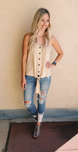 Natural Waffle Knit Button Down Tie Tank