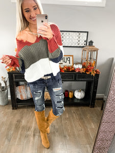 Rust Stripe Distressed V Neck Sweater