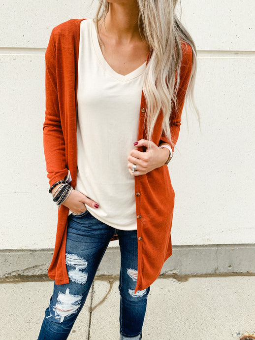 Lightweight Long Button Cardigan