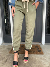 Olive Jogger with Tape Strap Detail