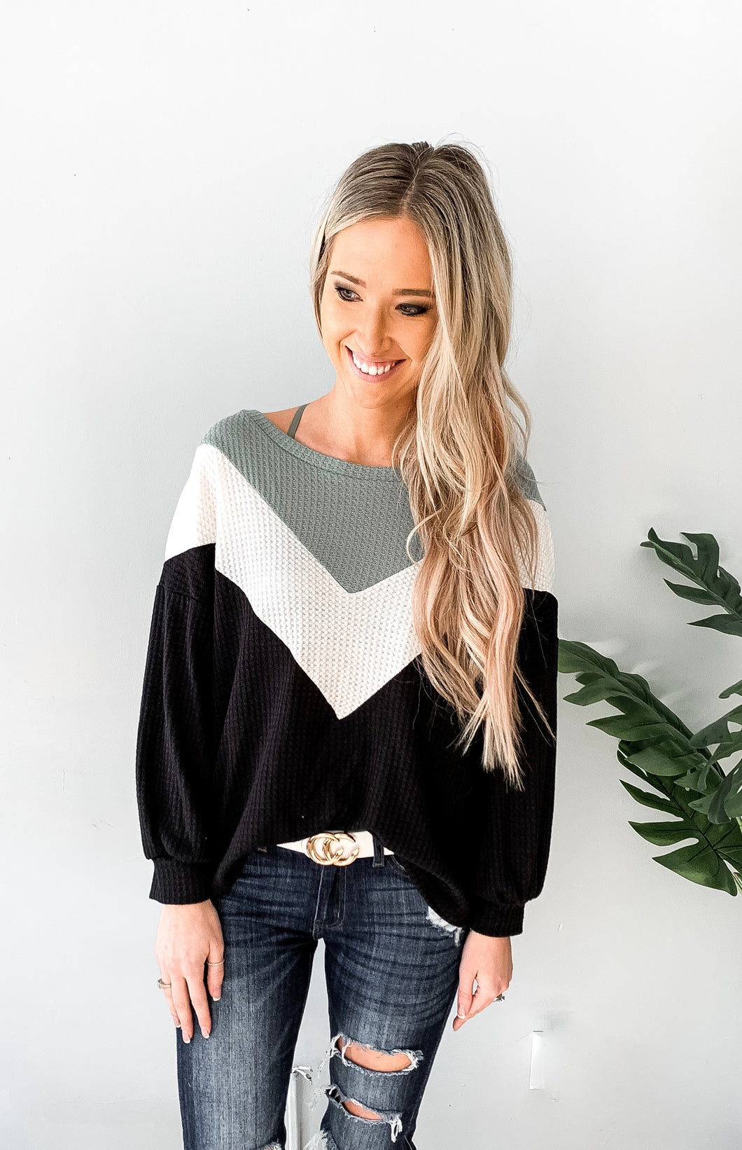 Thermal Waffle Knit Color Block Top