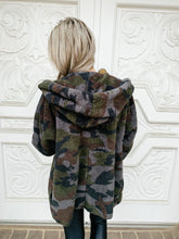 Camo Fuzzy Open Cardigan with A Hood