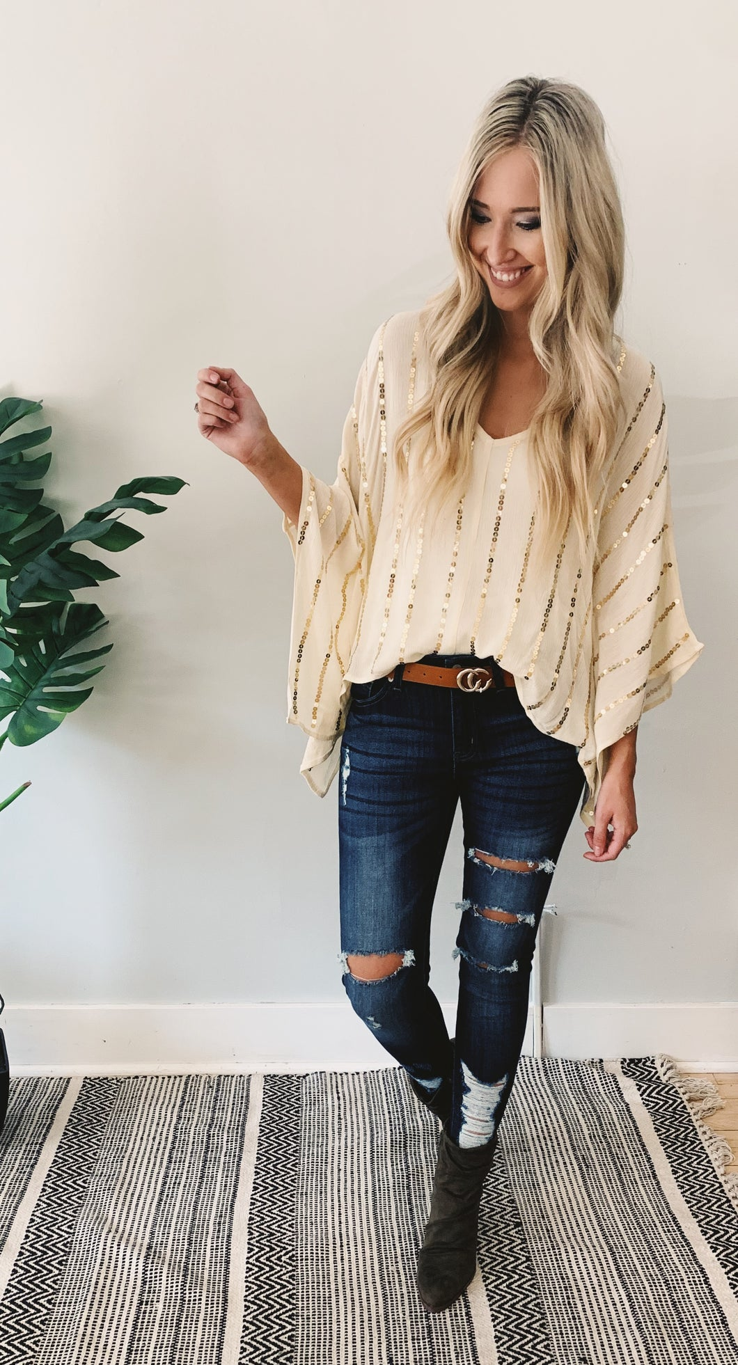 Ivory Gold Sequence Top