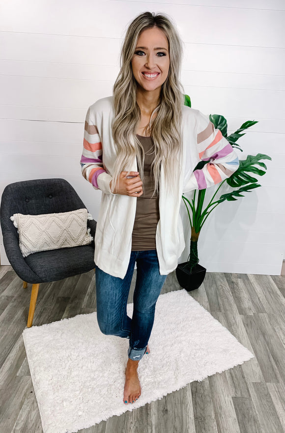 Cream Colored Stripe Cardigan