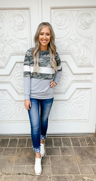 Camo Colorblock Sweatshirt Top