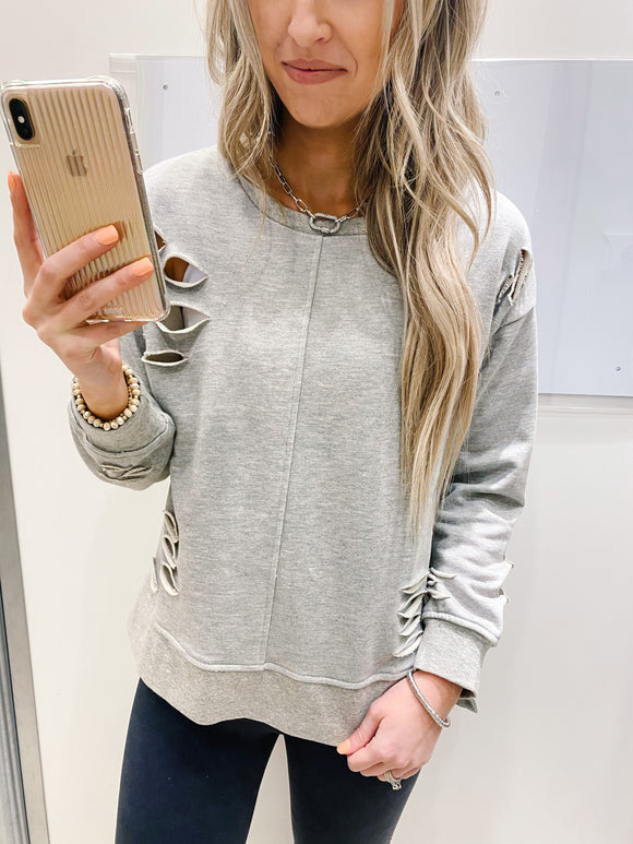 Distressed Grey Crew Neck