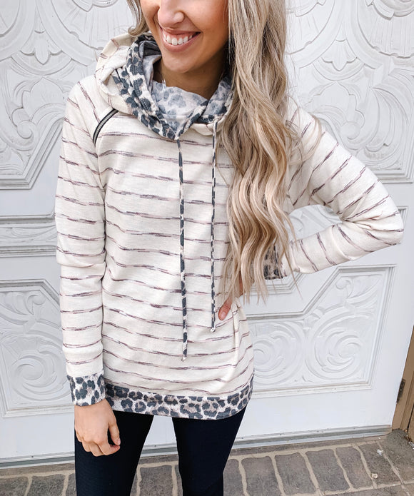 Oatmeal Striped Double Hoodie with Leopard Contrast