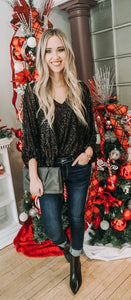 Sequin V-neck Balloon Sleeve Top